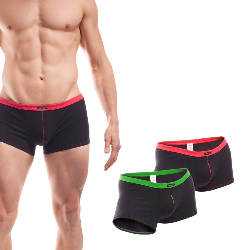 Baumwolle_Boxershort_Boxerpants_rippbund_2Set_grün_rot