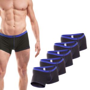 Baumwolle_Boxershort_Boxerpants_rippbund_5Set_blau