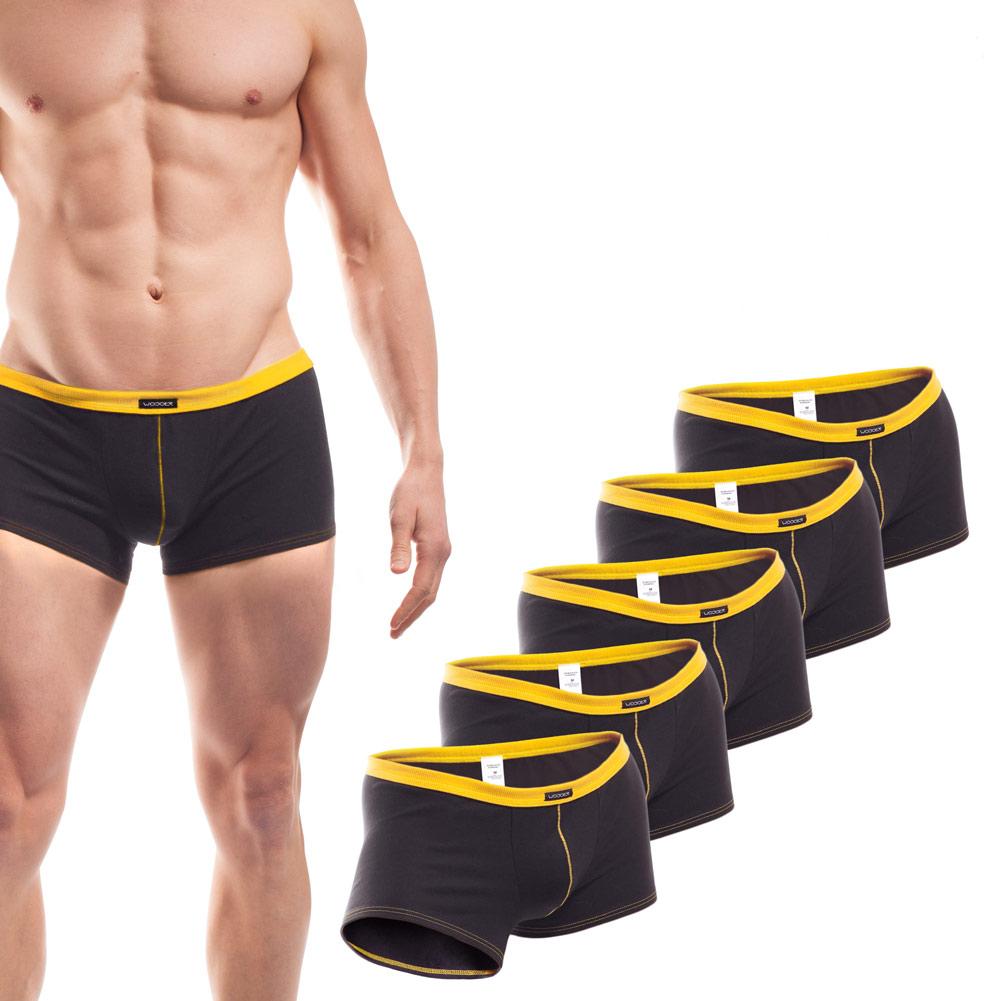 Baumwolle_Boxershort_Boxerpants_rippbund_5Set_gelb