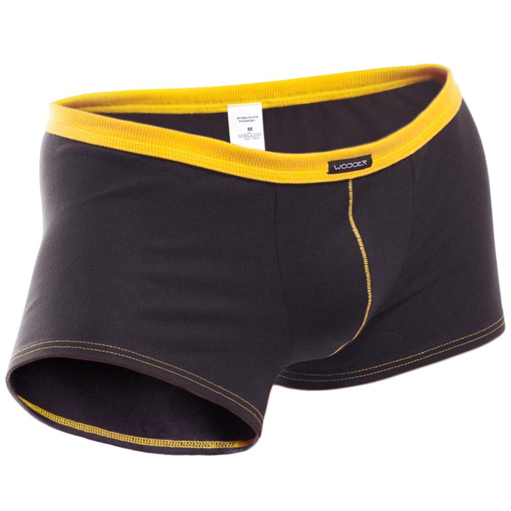 feine Baumwoll Boxershorts, dehntbar, enganliegend, slim fit, Rippbund, schwarz, gelb