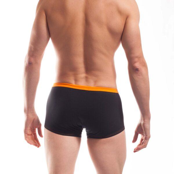 feine Baumwoll Unterhose, Boxershorts, dehntbar, enganliegend, slim fit, Rippbund, schwarz, orange