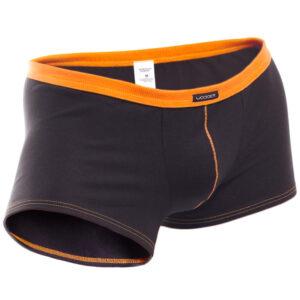 feine Baumwoll Boxershorts, dehntbar, enganliegend, slim fit, Rippbund, schwarz, orange