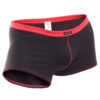 feine Baumwoll Boxershorts, dehntbar, enganliegend, slim fit, Rippbund, schwarz, rot