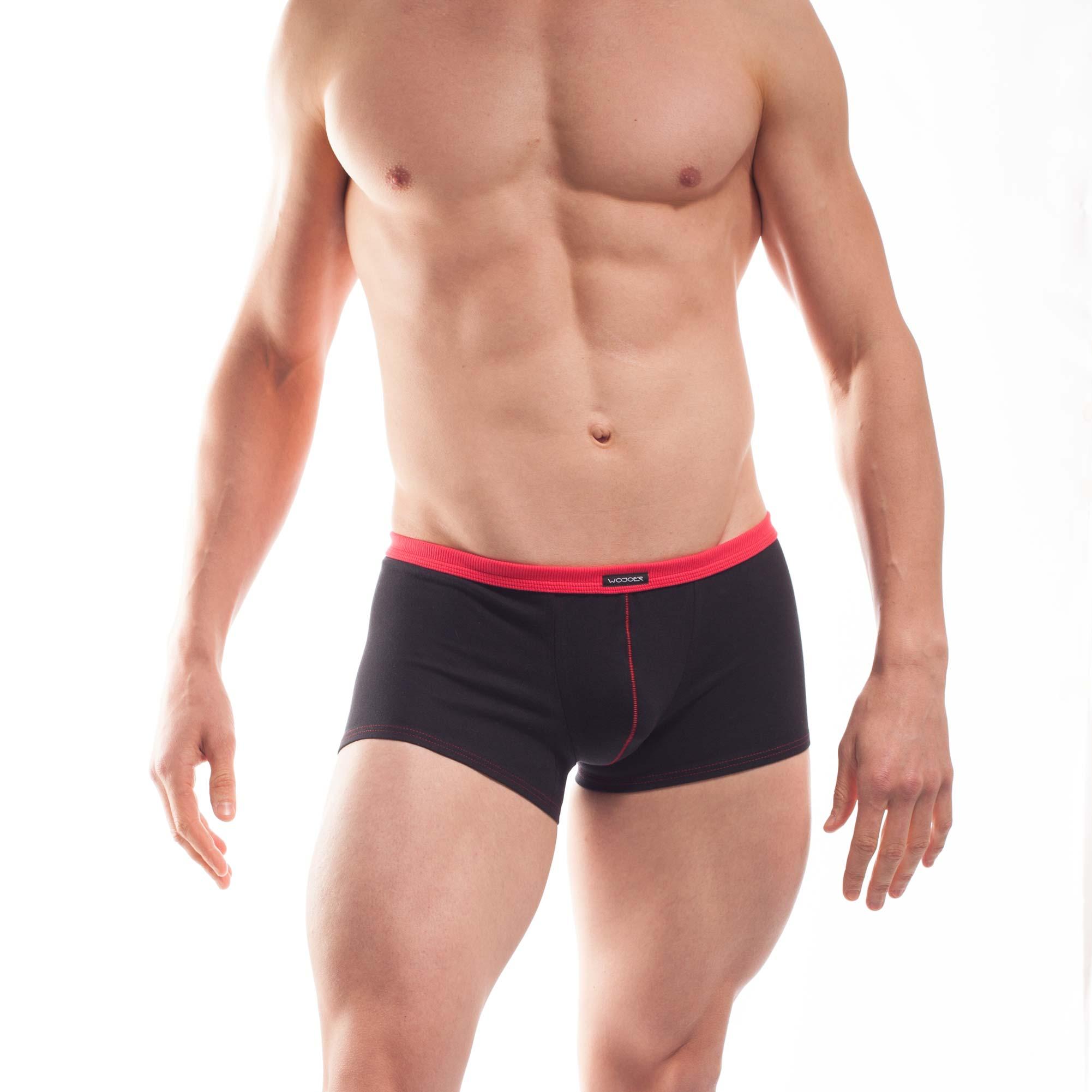 feine Baumwoll Unterhose, Boxershorts, dehntbar, enganliegend, slim fit, Rippbund, schwarz, rot