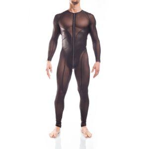 Superheld war gestern. Jetzt kommst Du! Der gefährlich erotische Bodysuit von WOJOER lenkt nicht nur die Blicke auf sich, er fesselt sie. Geschickt formt er optisch den Körper mit einem gekonnten Zusammenspiel zwischen dem verführerisch transparenten, anschmiegsamen Powernet und dem lasziv matten, dehnbaren Letherlike. Highlight ist der Doppelte Reißverschluss mit Untertritt, der viel Spielraum für Fantasie von Kopf bis Lenden bietet. WOJOER Bodysuit, Ganzkörper Anzug, Suit, Body, Netz, Powernet, Lederimmitat, Letherlike, schwarzer Anzug, Heldenanzug, Hero suit