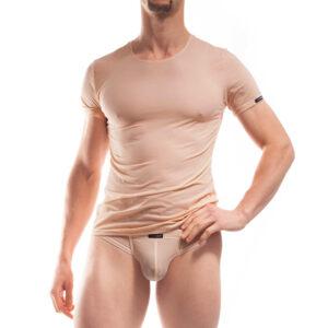 BEUN BASIC Shirt Nude, Haut. Vom Büro direkt an den Strand. So unauffällig bequem unter dem Businessoutfit, so reizvoll sexy beim Sprung ins kühle Nass. Das BEUN Basic Shirt ist das ideale Unterhemd durch das fein weiche, atmungsaktive, leicht transparente und hautfarbene Material. Mit seiner Salz- und Chlorwasserbeständigkeit, dem perfekten Schnitt und der samtig matten Oberfläche ist es gleichzeitig das reizvoll dezente Shirt am Pool. Unerlässlich für jeden Bürohengst. WOJOER