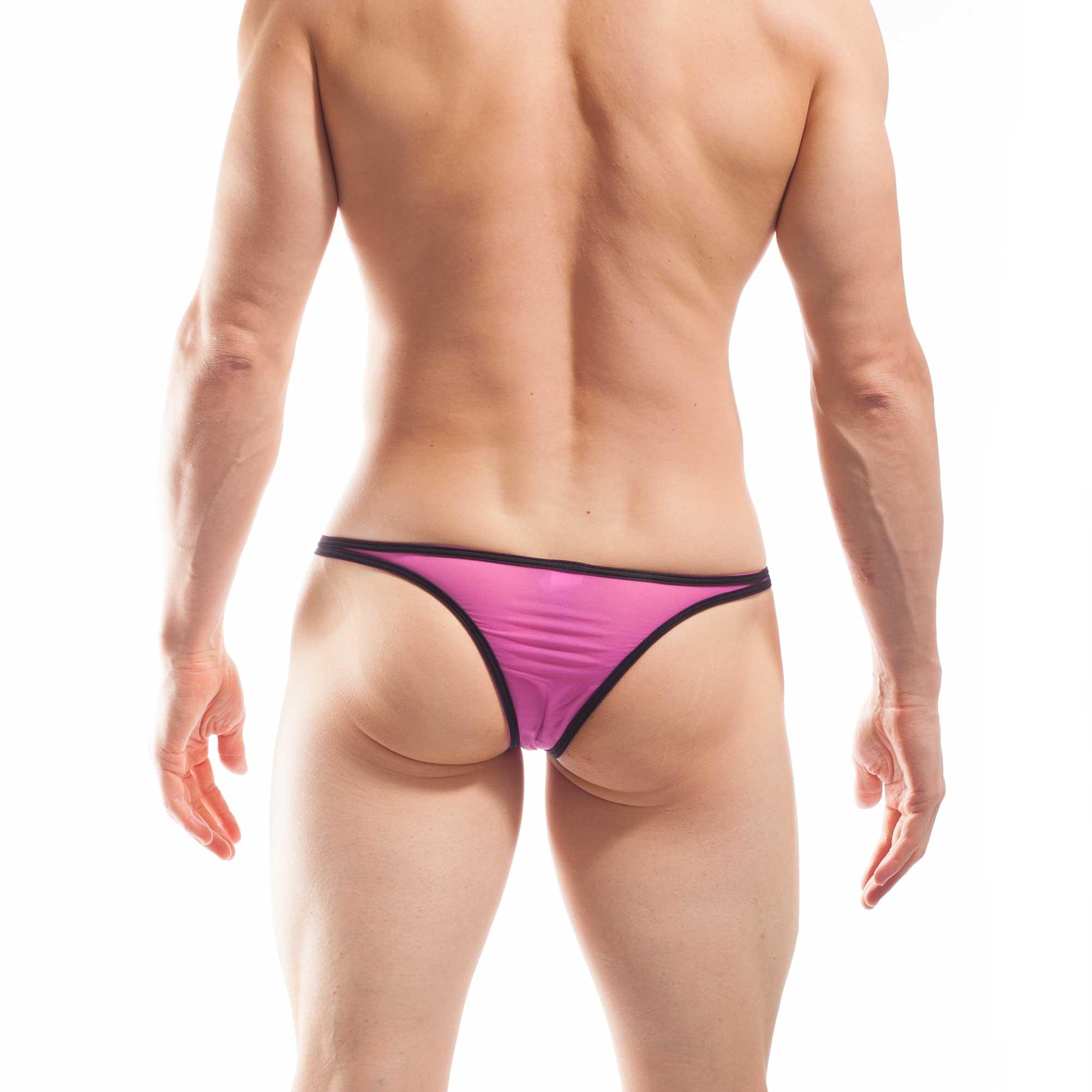 BEUN STRIPE PUSH UP MINI TANGA, Tanga, brasil, knappe Badehose, swim trunks, kontrast Ränder, schwarze Börtchen, candy pink, feilchen lila
