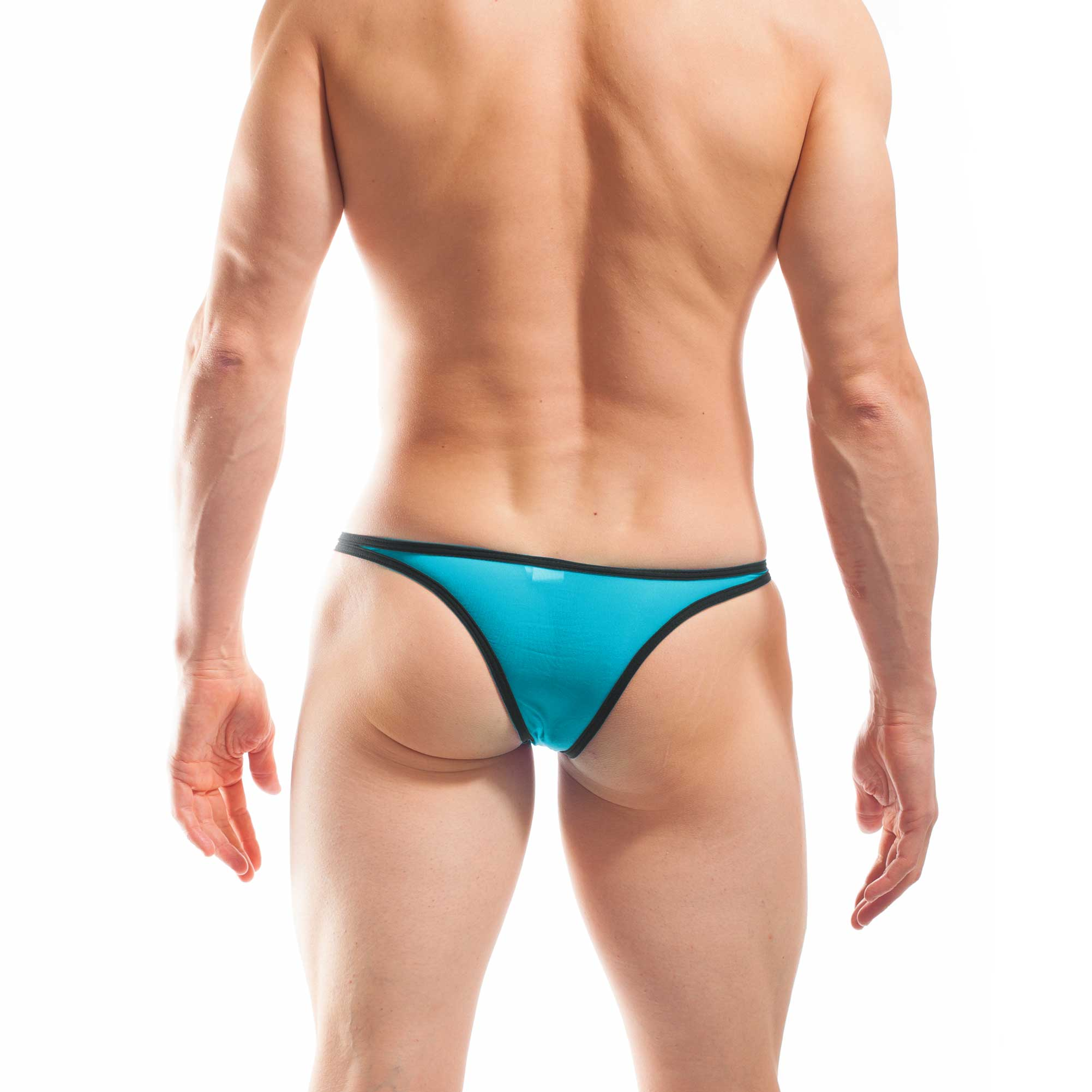 BEUN STRIPE MINI PUSH UP TANGA, Tanga, brasil, knappe Badehose, swim trunks, kontrast Ränder, schwarze Börtchen, eisblau, himmelblau, hellblau, blau