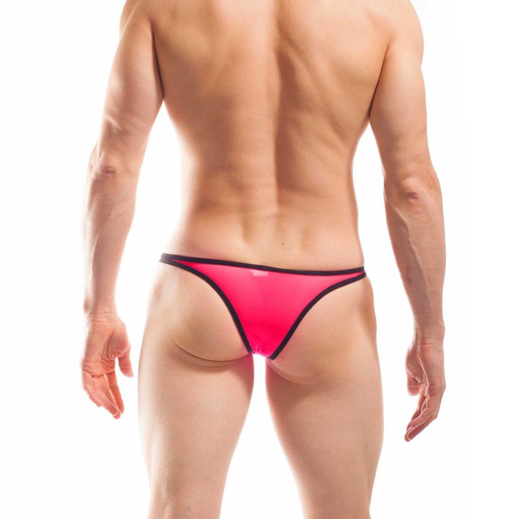 BEUN STRIPE MINI PUSH UP TANGA, Tanga, brasil, knappe Badehose, swim trunks, kontrast Ränder, schwarze Börtchen, neon coral, neon rot-pink