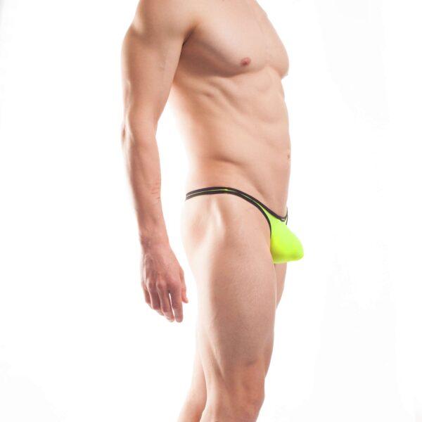 BEUN STRIPE PUSH UP MINI TANGA, Tanga, brasil, knappe Badehose, swim trunks, kontrast Ränder, schwarze Börtchen, neon gelb