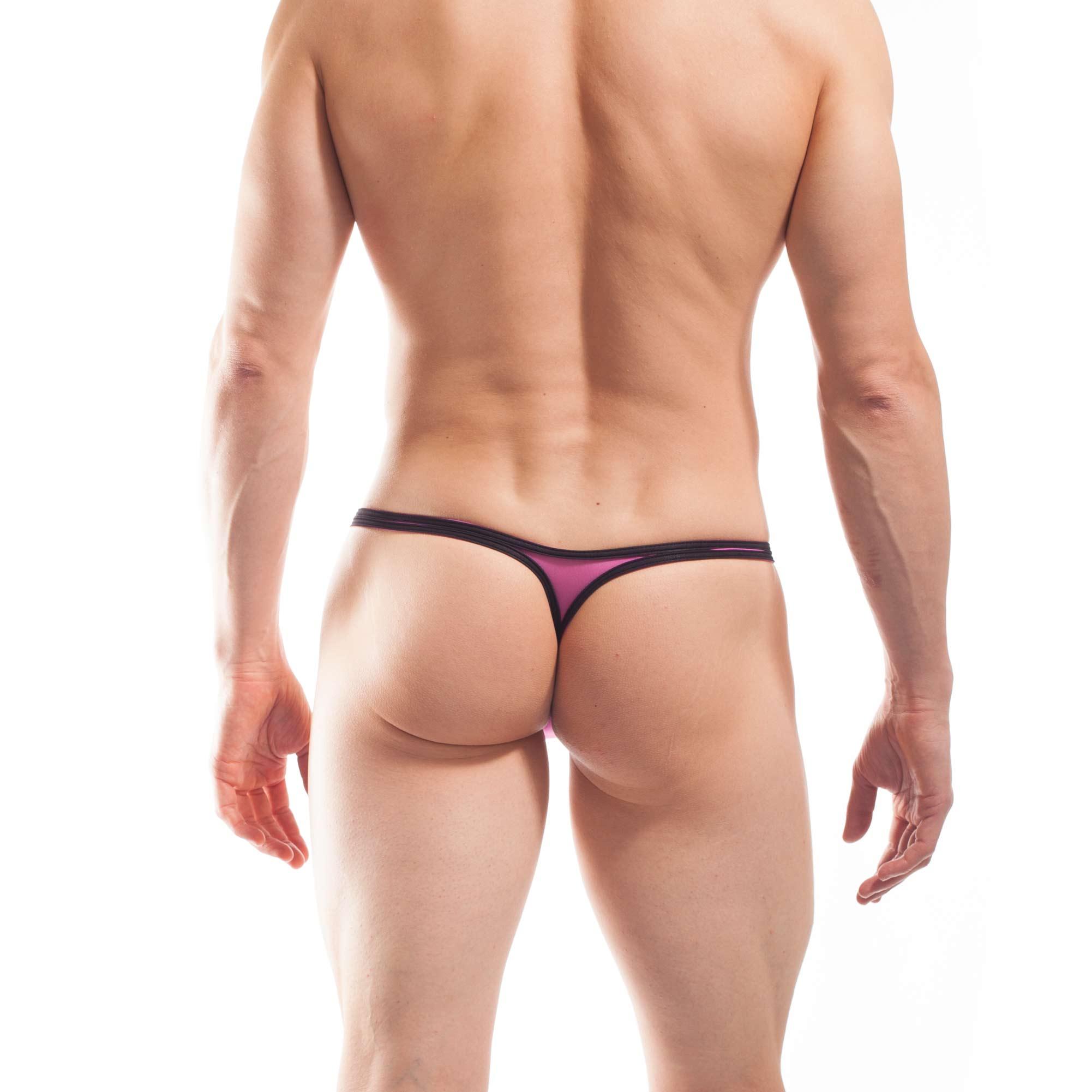 BEUN STRIPE PUSH UP MINI STRING, String, Tube, knappe Badehose, swim trunks, kontrast Ränder, schwarze Börtchen, candy pink, feilchen lila