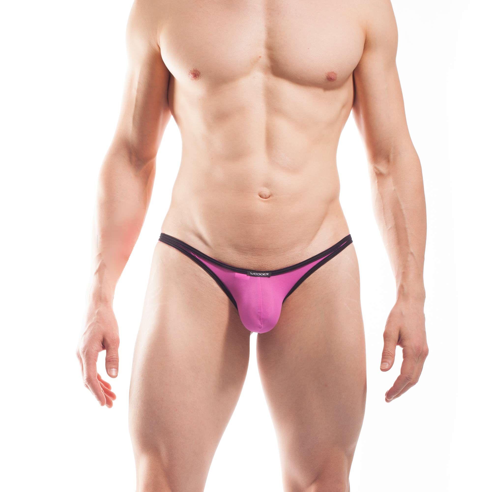 BEUN STRIPE MINI PUSH UP STRING, String, Tube, knappe Badehose, swim trunks, kontrast Ränder, schwarze Börtchen, candy pink, feilchen lila