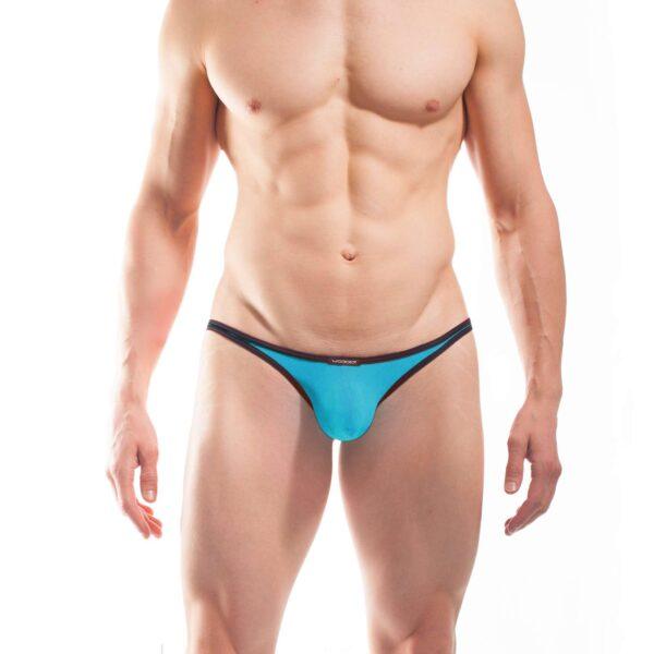 BEUN STRIPE MINI PUSH UP STRING, String, Tube, knappe Badehose, swim trunks, kontrast Ränder, schwarze Börtchen, eisblau, hellblau, himmelblau, blau