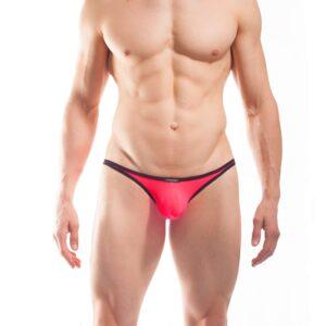 BEUN STRIPE MINI PUSH UP STRING, String, Tube, knappe Badehose, swim trunks, kontrast Ränder, schwarze Börtchen, neon coral, neon rot-pink