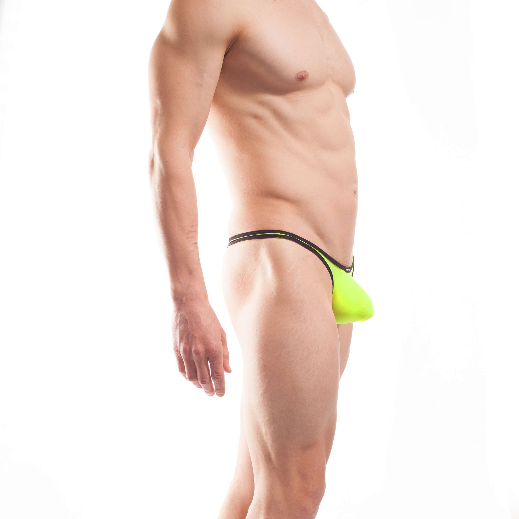 BEUN STRIPE PUSH UP MINI STRING, String, Tube, knappe Badehose, swim trunks, kontrast Ränder, schwarze Börtchen, neon gelb