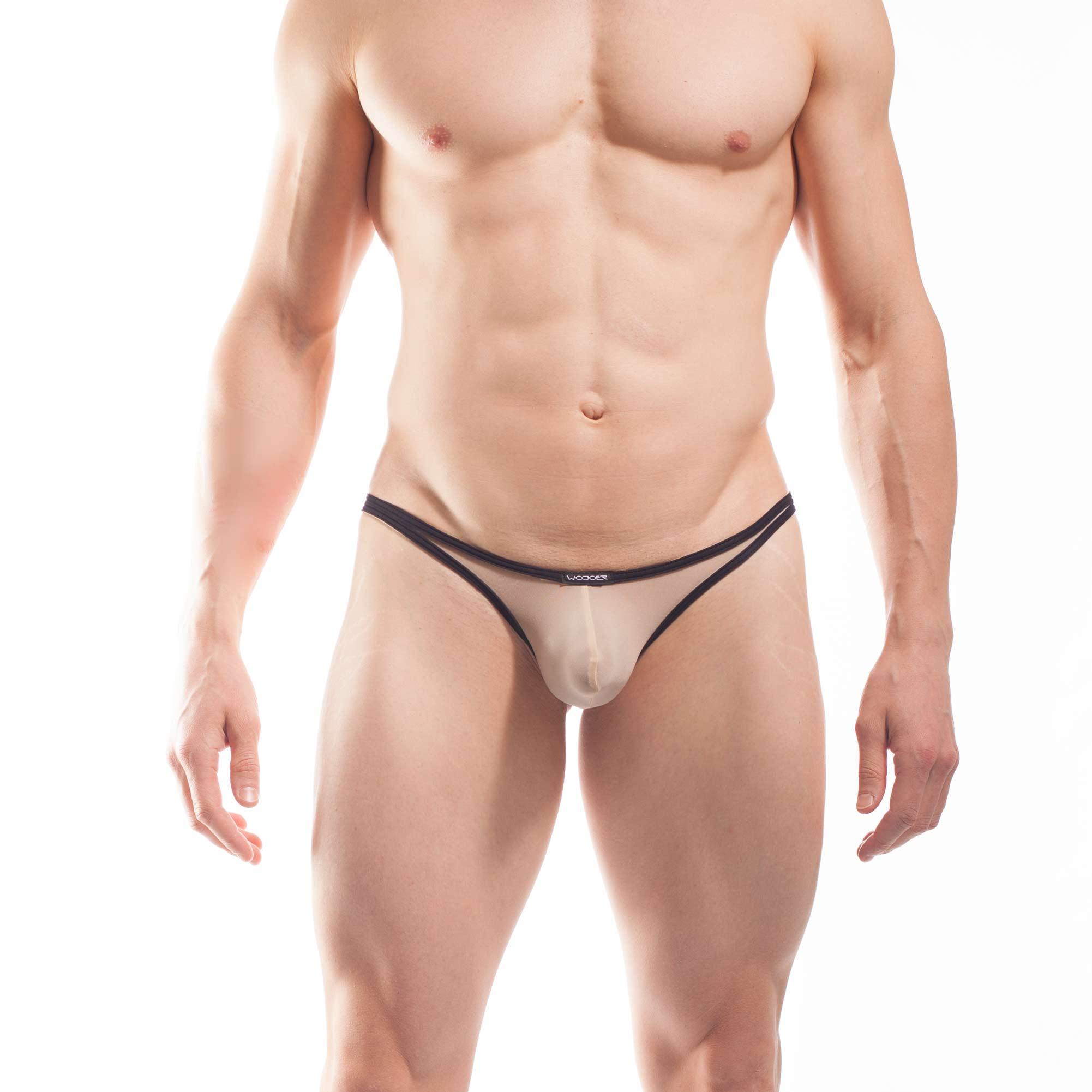 BEUN STRIPE PUSH UP MINI STRING, String, Tube, knappe Badehose, swim trunks, kontrast Ränder, schwarze Börtchen, nude, hautfarben, haut