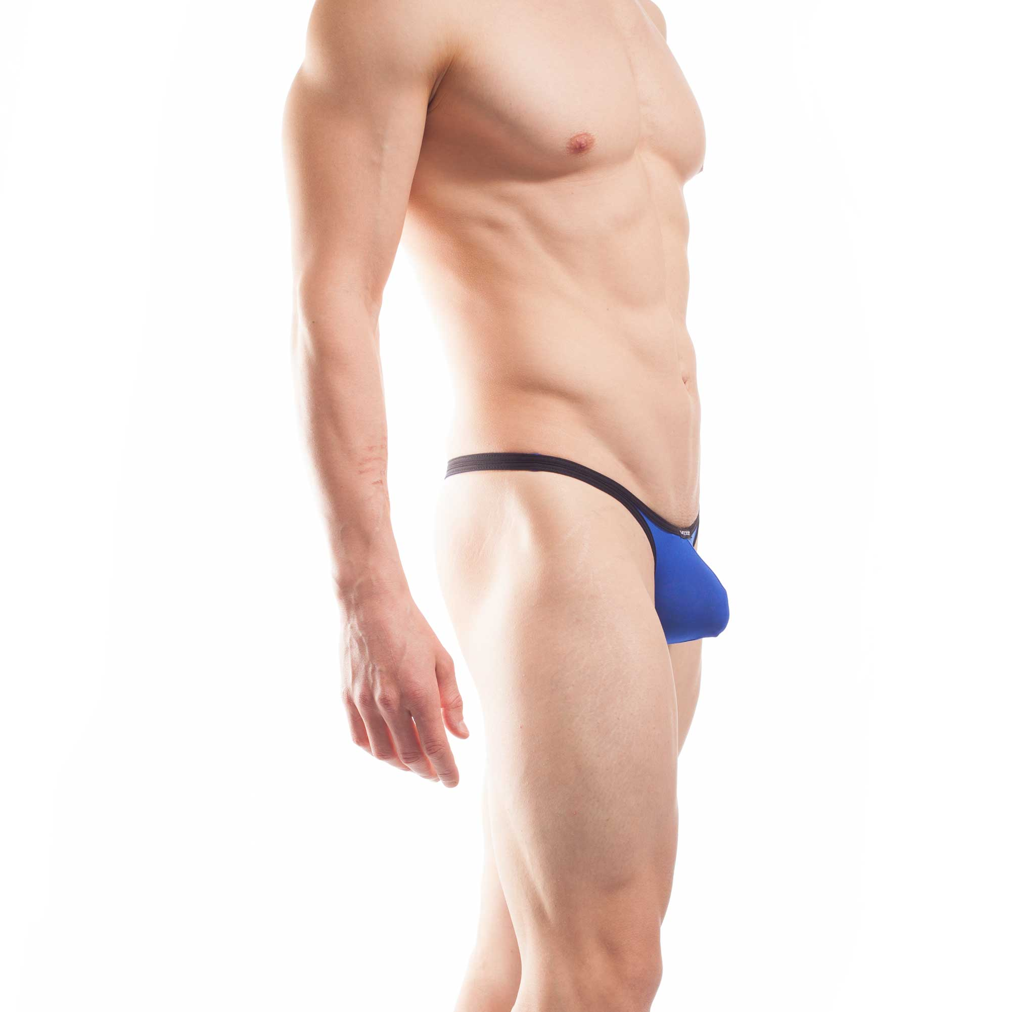 BEUN STRIPE PUSH UP MINI STRING für Herren, Männer String, Tube, knappe Badehose, swim trunks, kontrast Ränder, schwarze Börtchen, royalblau, königsblau, blau