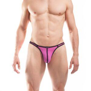 BEUN STRIPE STRING, Schmalissimo, string, knappe Badehose, swim trunks, kontrast Ränder, schwarze Börtchen, candy pink, feilchen lila