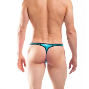 BEUN STRIPE STRING, Schmalissimo, string, knappe Badehose, swim trunks, kontrast Ränder, schwarze Börtchen, eisblau, hellblau, blau, himmelblau