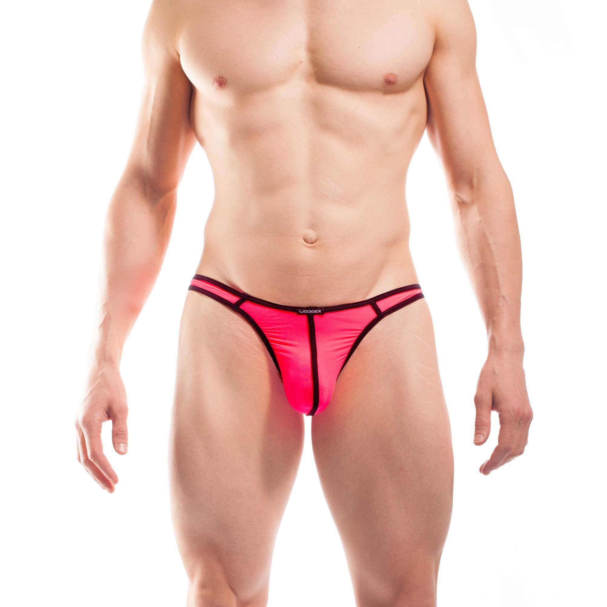 BEUN STRIPE STRING, Schmalissimo, string, knappe Badehose, swim trunks, kontrast Ränder, schwarze Börtchen, neon coral, neon rot-pink