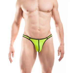 BEUN STRIPE STRING, Schmalissimo, string, knappe Badehose, swim trunks, kontrast Ränder, schwarze Börtchen, neon gelb