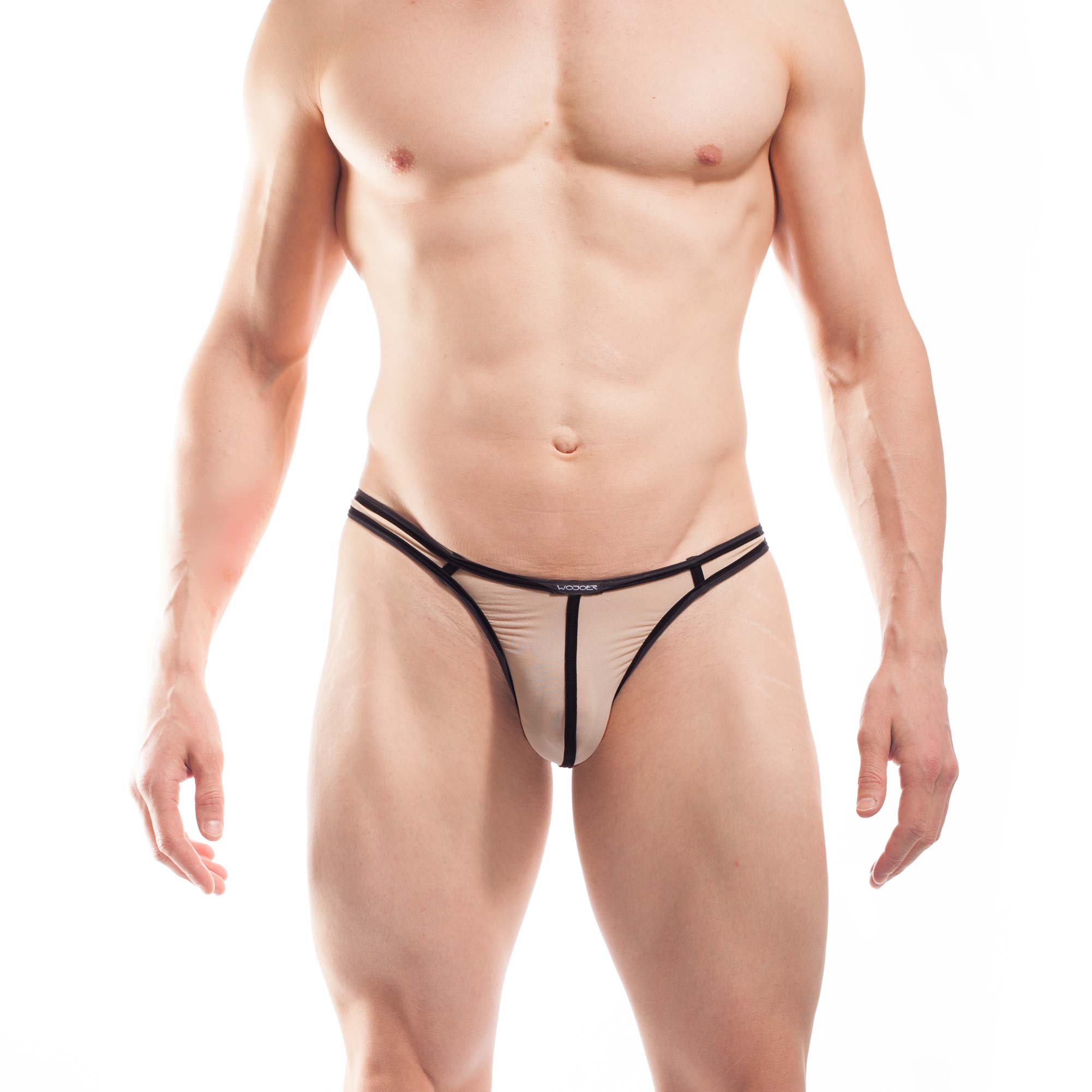 BEUN STRIPE STRING, Schmalissimo, string, knappe Badehose, swim trunks, kontrast Ränder, schwarze Börtchen, hautfarben, nude, haut