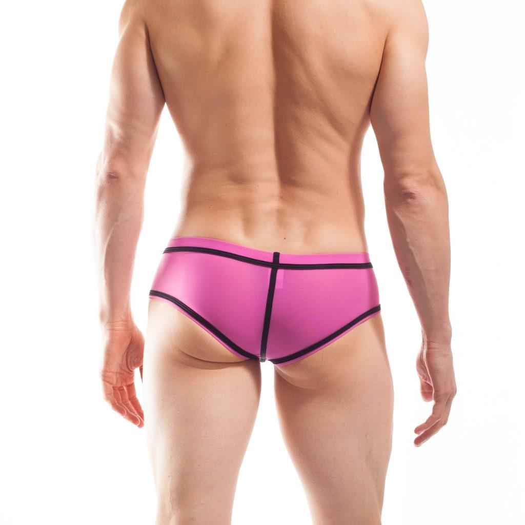 BEUN STRIPE HIPSTER, Pant, Shorts, enganliegende Badehose, Unterhose, swim trunks, kontrast Ränder, schwarze Börtchen, candy pink, feilchen lila