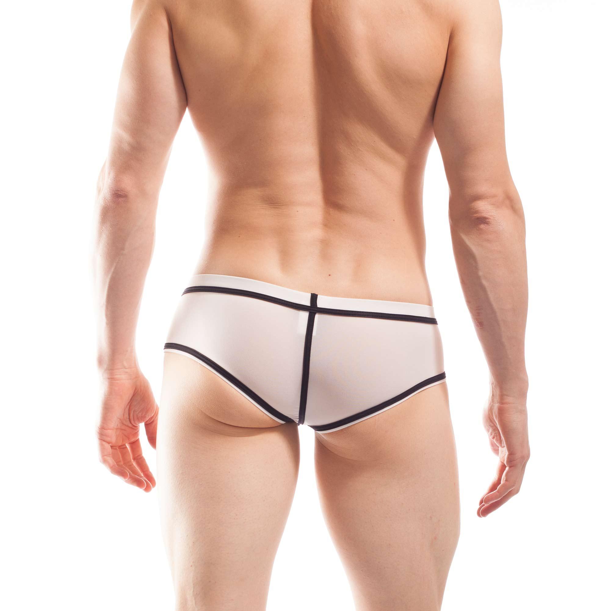 BEUN STRIPE HIPSTER, Pant, Shorts, enganliegende Badehose, Unterhose, swim trunks, kontrast Ränder, schwarze Börtchen, crema, cremefarben, weiss, weiß