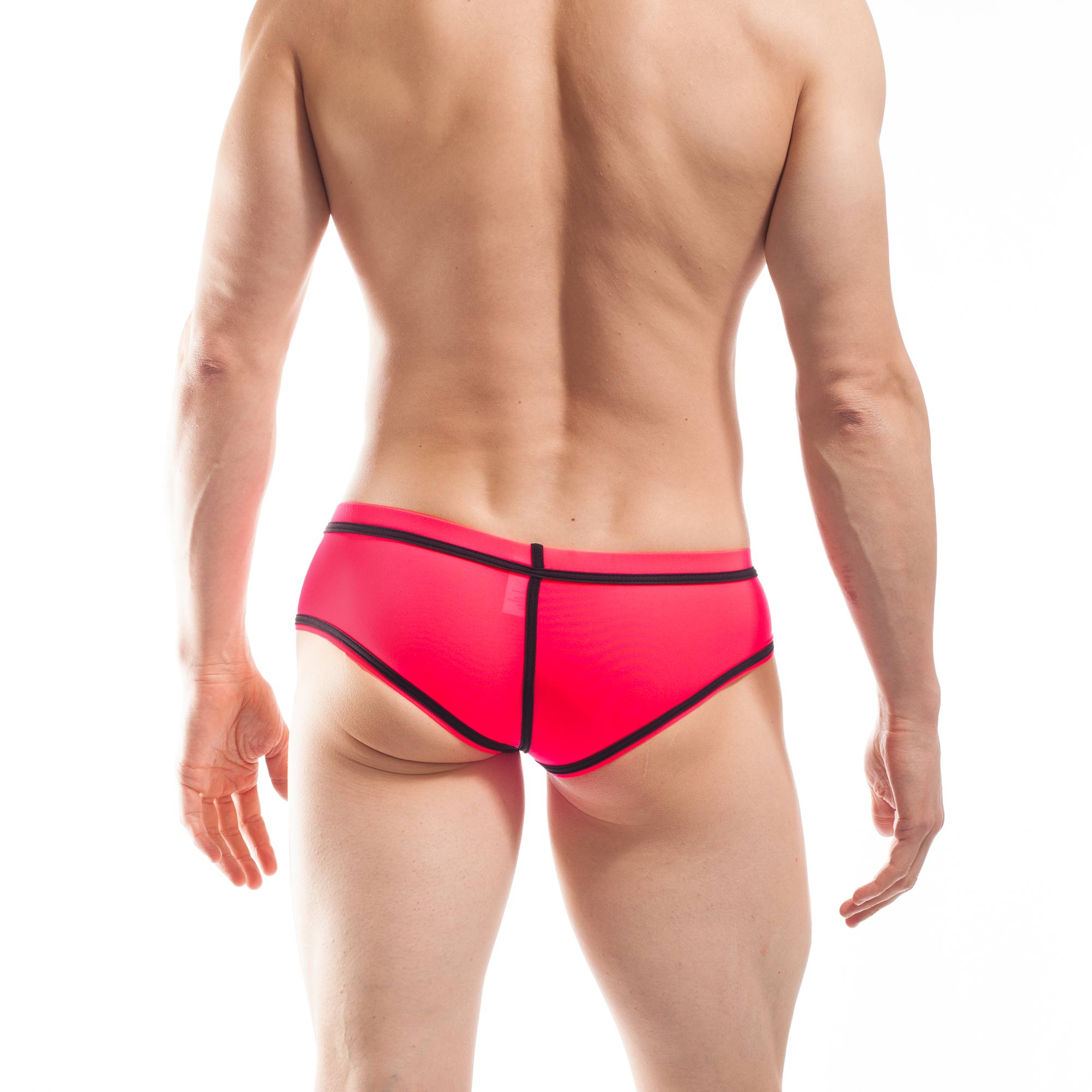 BEUN STRIPE HIPSTER, Pant, Shorts, enganliegende Badehose, Unterhose, swim trunks, kontrast Ränder, schwarze Börtchen, neon coral, neon rot-pink