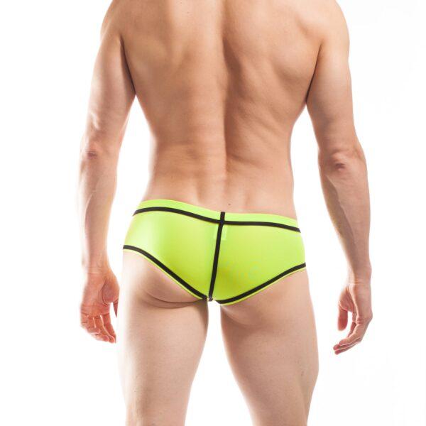BEUN STRIPE HIPSTER, Pant, Shorts, enganliegende Badehose, Unterhose, swim trunks, kontrast Ränder, schwarze Börtchen, neon gelb