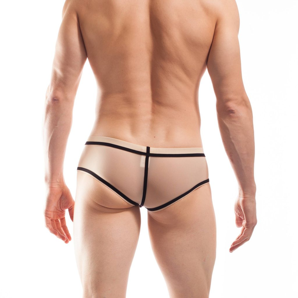 BEUN STRIPE HIPSTER, Pant, Shorts, enganliegende Badehose, Unterhose, swim trunks, kontrast Ränder, schwarze Börtchen, nude, hautfarben, haut
