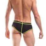 BEUN STRIPE HIPSTER, Pant, Shorts, enganliegende Badehose, Unterhose, swim trunks, kontrast Ränder, schwarze Börtchen, schwarz neongelb