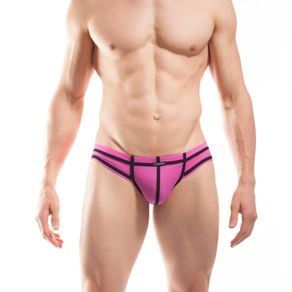 BEUN STRIPE MINI HIPSTER, Pant, Shorts, Briefs, Cheeky Slip,enganliegende Badehose, Unterhose, swim trunks, kontrast Ränder, schwarze Börtchen, candy pink, feilchen lila