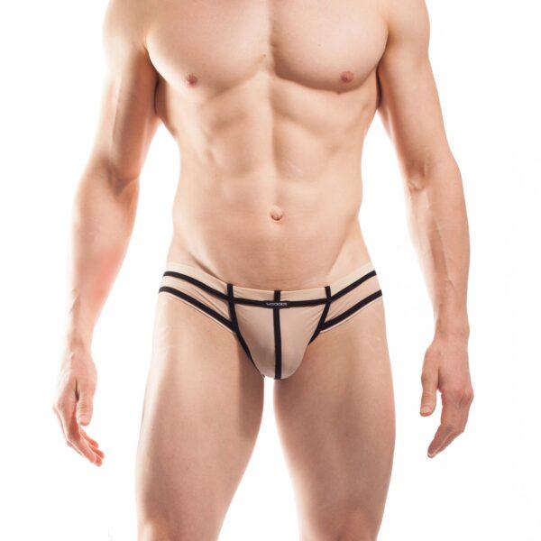 BEUN STRIPE MINI HIPSTER, Pant, Shorts, Briefs, Cheeky Slip,enganliegende Badehose, Unterhose, swim trunks, kontrast Ränder, schwarze Börtchen, nude, hautfarben, haut