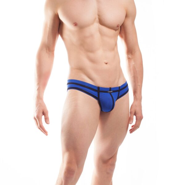 BEUN STRIPE MINI HIPSTER, Pant, Shorts, Briefs, Cheeky Slip,enganliegende Badehose, Unterhose, swim trunks, kontrast Ränder, schwarze Börtchen, royalblau, königsblau, blau