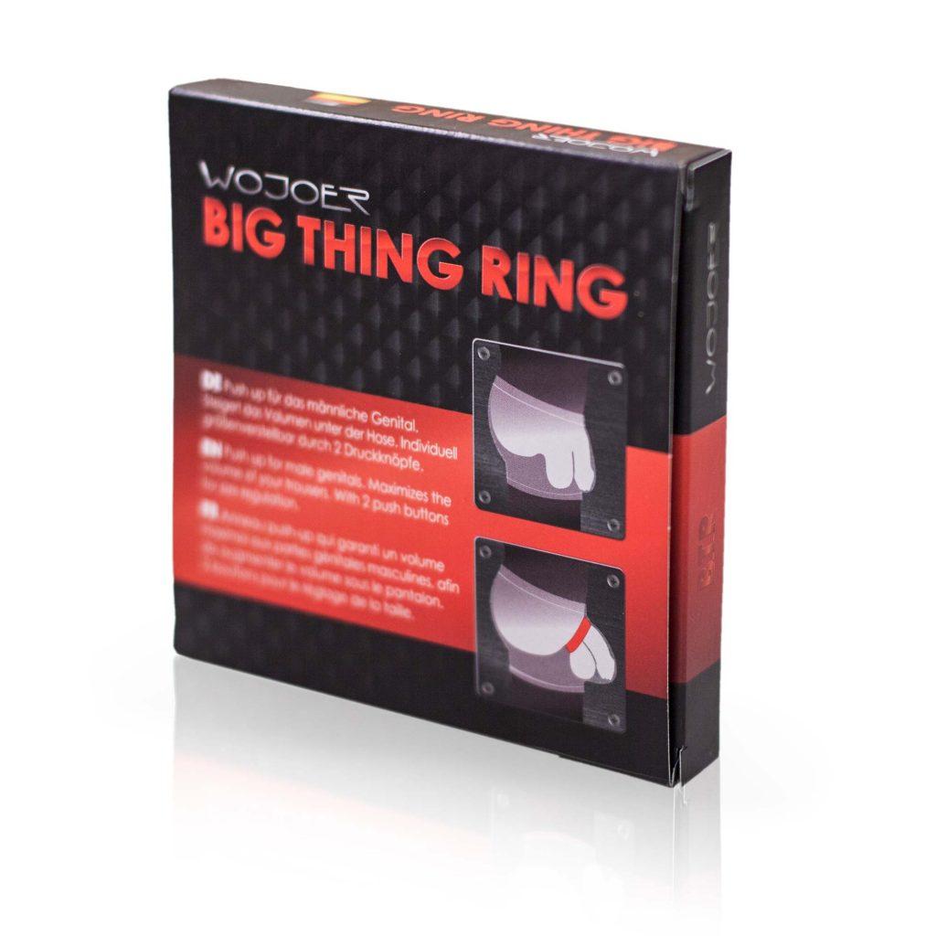 BTR, BIG THING RING, Push up für den Mann, Genitalring, Penisring, Hodenring, Cockring, für maximales Volumen in der Hose, Lederimitat, Kunstleder, Badestoff, Glanzstoff, Druckknöpfe