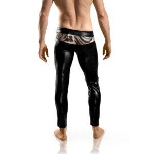 schwarze Kunstleder Leggings, mit Leopradenfell Druck, Druckknopf, Fast-Aktion-Funktion, Klapp-Funktion, silber, Applikationen,