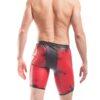 Redback Longpant,Lederimitat, rot-schwarz, Dirty-look, Used-look, One-of-piece, Einzelstücke