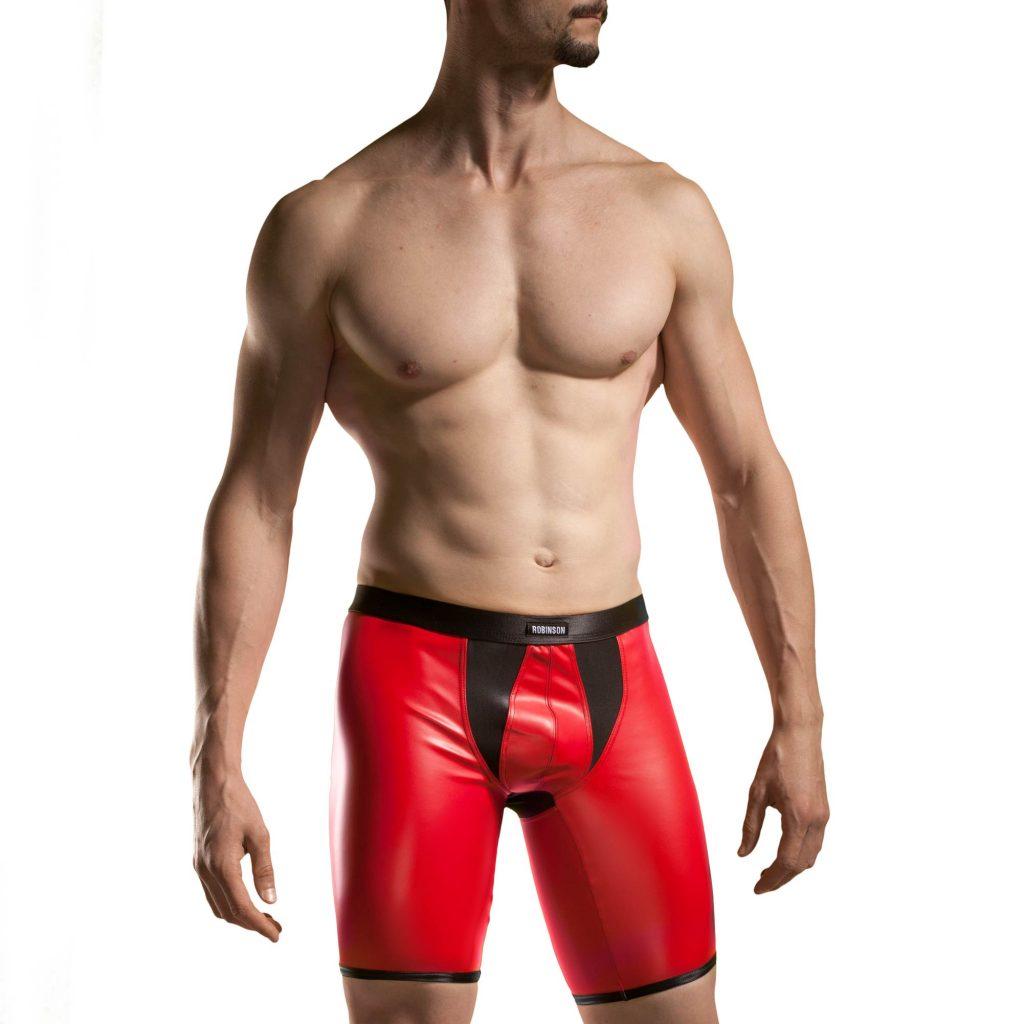 Redback Kunstleder Longpants, Hose, enganliegende shorts, Letherlike, Wetlook, Lederimitat, rot-schwarz,
