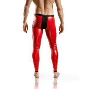 Redback Kunstleder Leggings, Hose, Letherlike, Wetlook, Lederimitat, rot-schwarz,