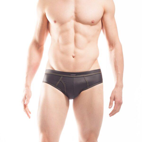 schwarze pants mit mattem kunstleder, Synlex, mattes Lederimitat, super dehnbares Letherlike, fein dünnes Kunstleder, Slip, schwarz, Brief, Clubwear, Unterhose