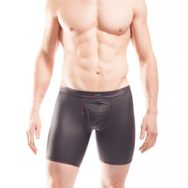 schwarze Shorts mit mattem kunstleder, Synlex, mattes Lederimitat, super dehnbares Letherlike, fein dünnes Kunstleder, Shorts, schwarz, Pant, Clubwear, Unterhose, Longpants