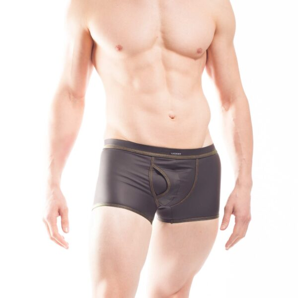 schwarze Shorts mit mattem kunstleder, Synlex, mattes Lederimitat, super dehnbares Letherlike, fein dünnes Kunstleder, Shorts, schwarz, Pant, Clubwear, Unterhose,