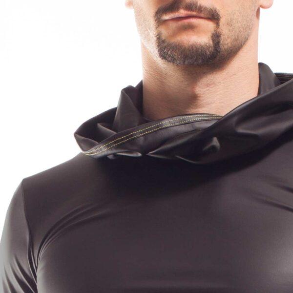 schwarz mattes Kunstleder Shirt, schwarzes Shirt mit mattem kunstleder, Synlex, mattes Lederimitat, super dehnbares Letherlike, fein dünnes Kunstleder, schwarz, Clubwear, Shirt, Kapuzenshirt