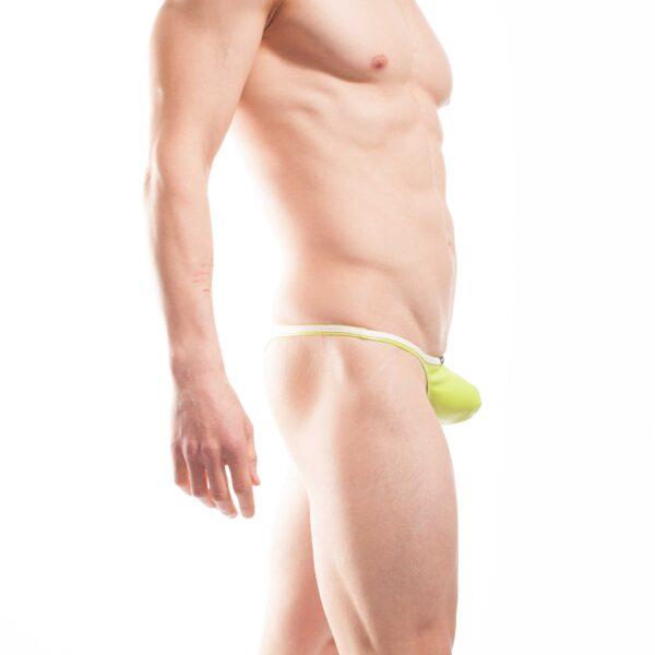 Candygreen, grüner Letherlike Tanga Mini Pushup, Glanz, Lederimitat, Kunstleder, Letherlike, weißer Einfass, Eckbund, Einzigartig, Limitiert, Besonders, Speziell