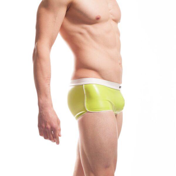 Candygreen Sprinter, grüne Leatherlike Pants, Glanz, Lederimitat, Kunstleder, Letherlike, weißer Einfass, Eckbund, Einzigartig, Limitiert, Besonders, Speziell