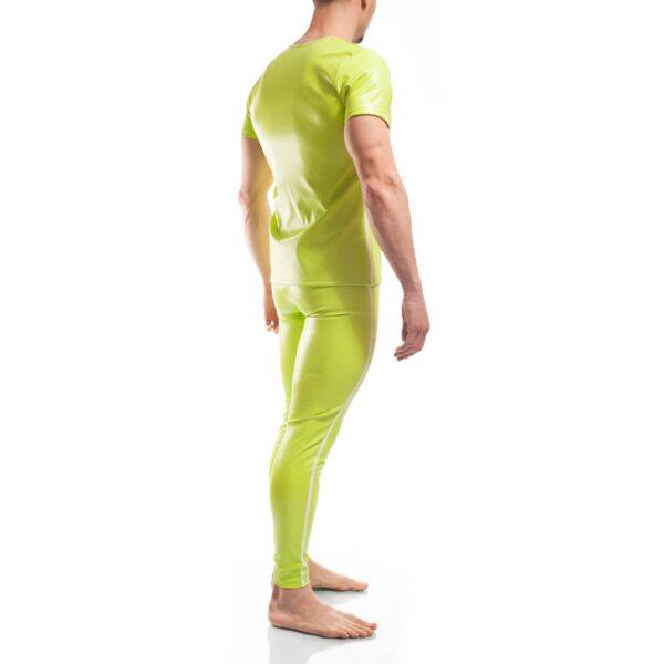 Candygreen, grünes Letherlike shirt, Glanz, Lederimitat, Kunstleder, Letherlike, weißer Einfass, Eckbund, Einzigartig, Limitiert, Besonders, Speziell