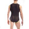 Powernet, Netzanzug, durchsichtiger Body, strech organza body, weicher dehnbarer Tüll Anzug, Ganzkörperanzug schwarz neongelb