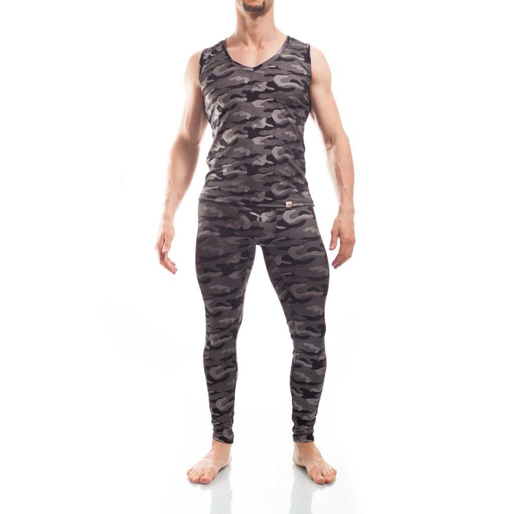 Bade Leggings Camouflage beach silber, mit Schnürung, bade Shirt camouflage beach silber
