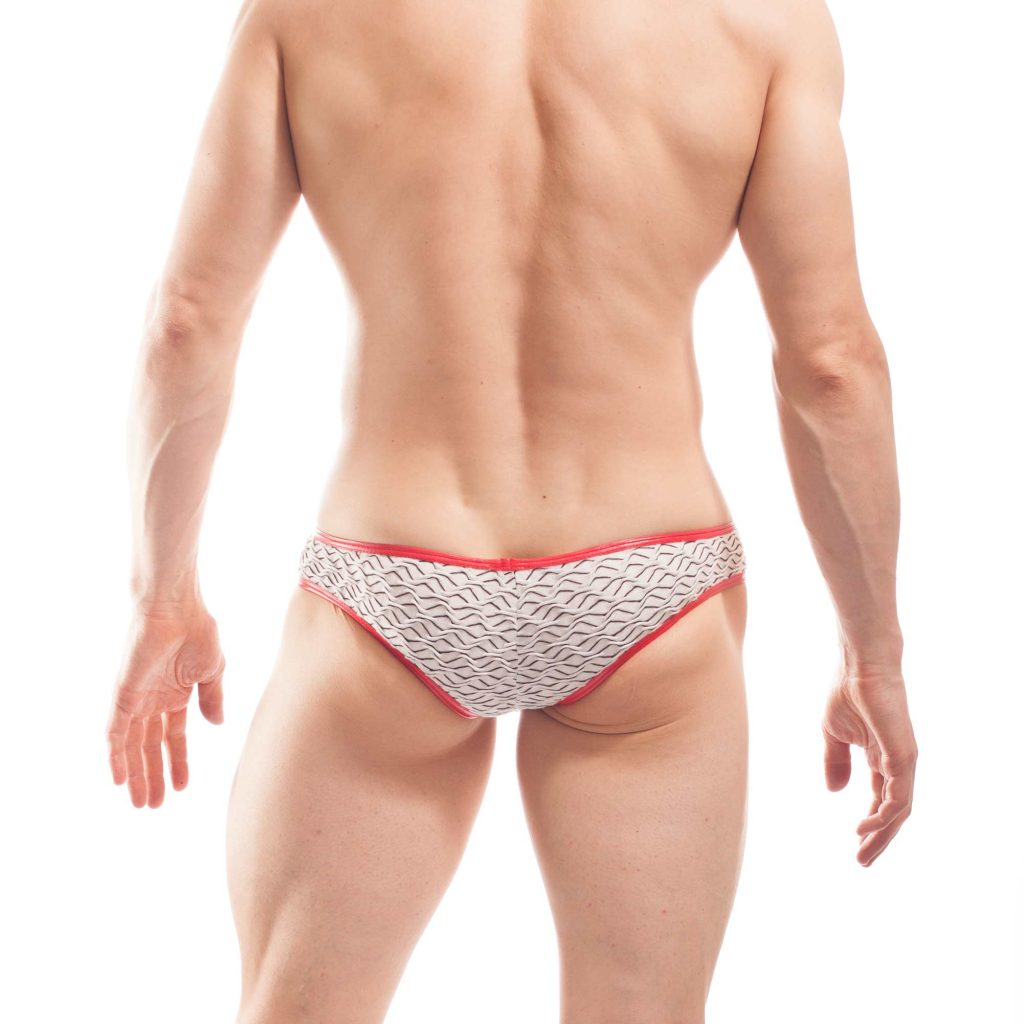 3D struktur brief, white waves, baumwoll Mini Hipster. 3D Material, Rippmaterial,
